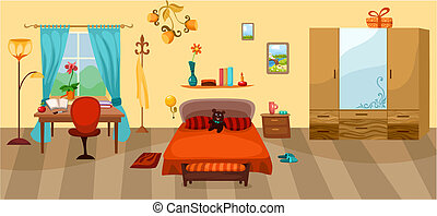 bedroom - vector illustration of a bedroom