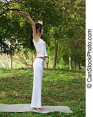 yoga girl on the park