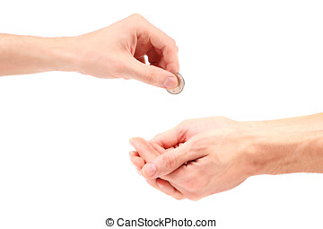 Hand gives coin to beggar