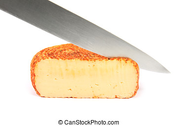 Knife cut slice of cheese