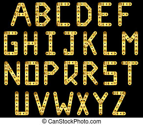 Gold strip alphabet - Bolted golden strip alphabet. A to Z