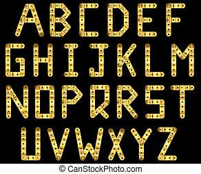 Gold strip alphabet - Bolted golden strip alphabet. A to Z