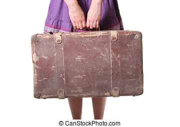 Woman with old suitcase