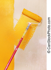 painting wall with orange color