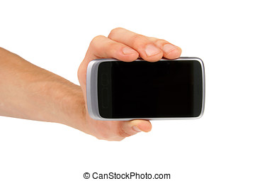 hand showing mobile phone