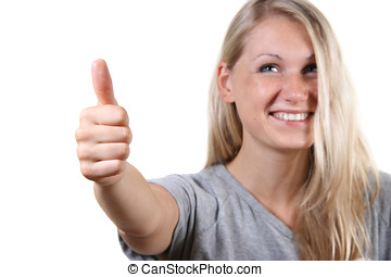Young cute woman with thumb up