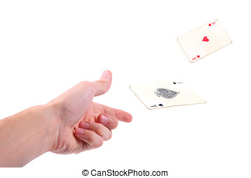 Hand throwing two aces