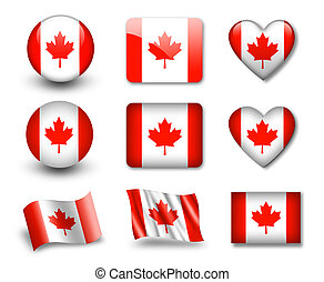 The Canadian flag - set of icons and flags. glossy and matte...
