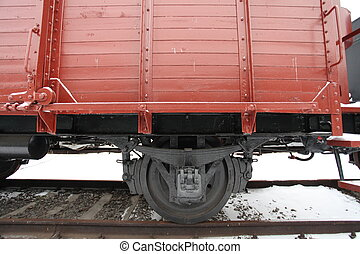 old boxcar - fragment of an old railway car at the station