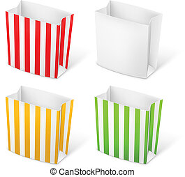 Paper bags - Set of Stripped color Paper Bags. Illustration...