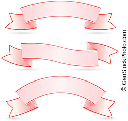 Banners set - Set of Pink Banners Illustration on white...