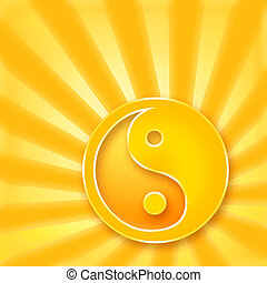 Yin Yang symbol on golden sunshine background