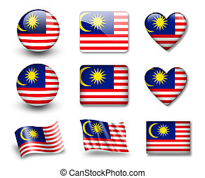 The Malaysia flag - set of icons and flags. glossy and matte...