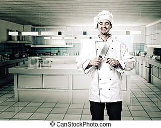 chef in kitchen - portrait of caucasian chef with knives