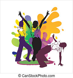 Dancing silhouettes on colored back - Young people dancing...