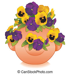 Strawberry Jar Planter with Pansies - Gold and purple Pansy...