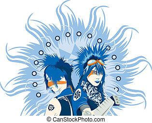 azul, rosto, isolado, dois, pessoas