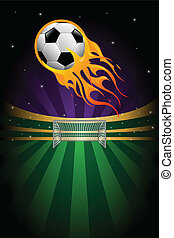 Soccer background - A vector illustration of flaming soccer...