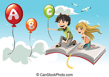 Learning kids - A vector illustration of two kids learning...