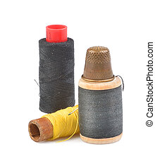 Spools of thread with needle isolated