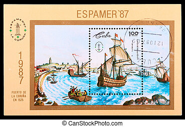 Postage Stamp - CUBA - CIRCA 1987: A stamp printed in the...