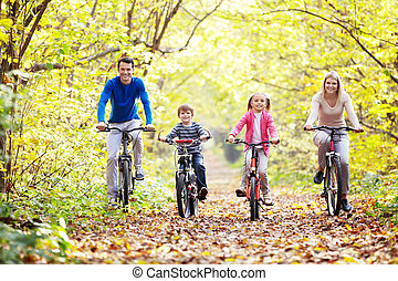Walk on bicycles - The family in the park on bicycles