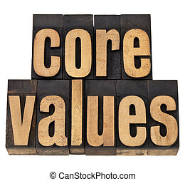 core values - ethics concept - isolated text in vintage...