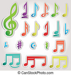 Vector music note icon on sticker