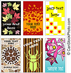 Buisness cards - 6 Buisness Cards. Leaves, Fruits, Paving,...
