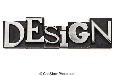 design word in metal type