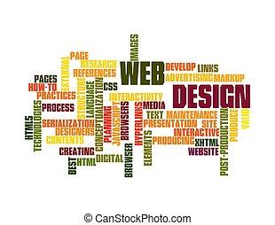 web, design, Wort, Wolke, Freigestellt, weißes,...
