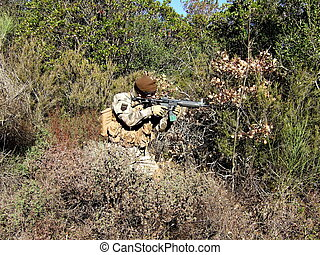 Soldier in camouflage airsoft sport - Game Airsoft soldier...