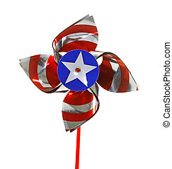 A fourth of July celebratory pinwheel isolated on white.