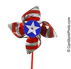 A fourth of July celebratory pinwheel isolated on white.