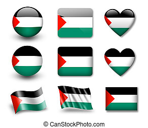 The Palestinian flag - set of icons and flags. glossy and...