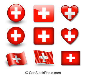 The Swiss flag - set of icons and flags. glossy and matte on...