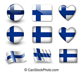 The Finnish flag - set of icons and flags glossy and matte...