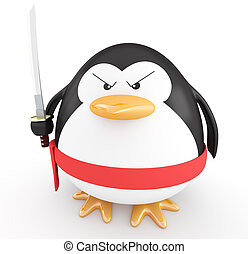 Ninja penguin - Fat ninja penguin with katana ready to...