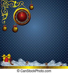 christmas decorations and golden watch - golden watch and...