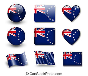The Cook Islands flag - set of icons and flags. glossy and...