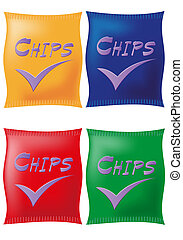 potato chips in coloured packing
