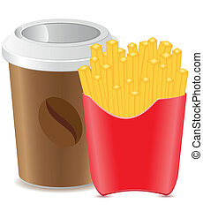cup with coffee and fries potato