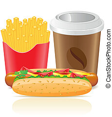 hotdog fries potato and paper cup with coffee vector...