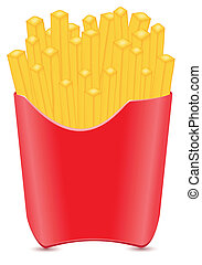 fries potato vector illustration isolated on white...
