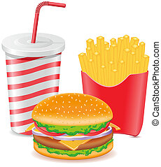 cheeseburger fries potato and paper cup with soda vector...