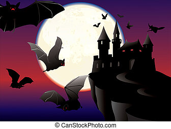 Bats over the black castle on a moonlit night