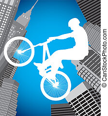 Cyclists in the city - silhouette of a cyclist on city...