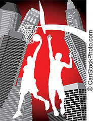 basketball in the city - basketball players silhouettes on...