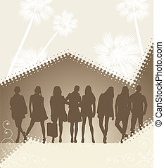 young people silhouette on palm background