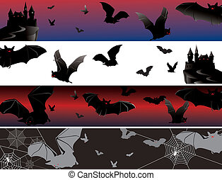 four bat banners - set of banners as bats in fly on a...